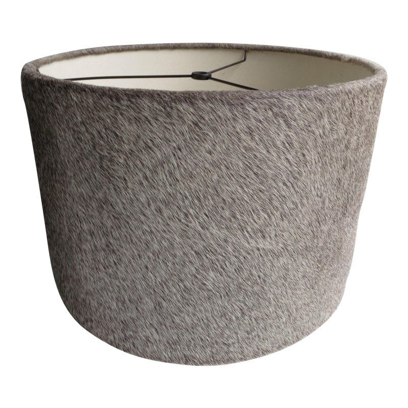 Gray Leather Cowhide Drum Lamp Shade Lamp Shade Cowhide Lamps