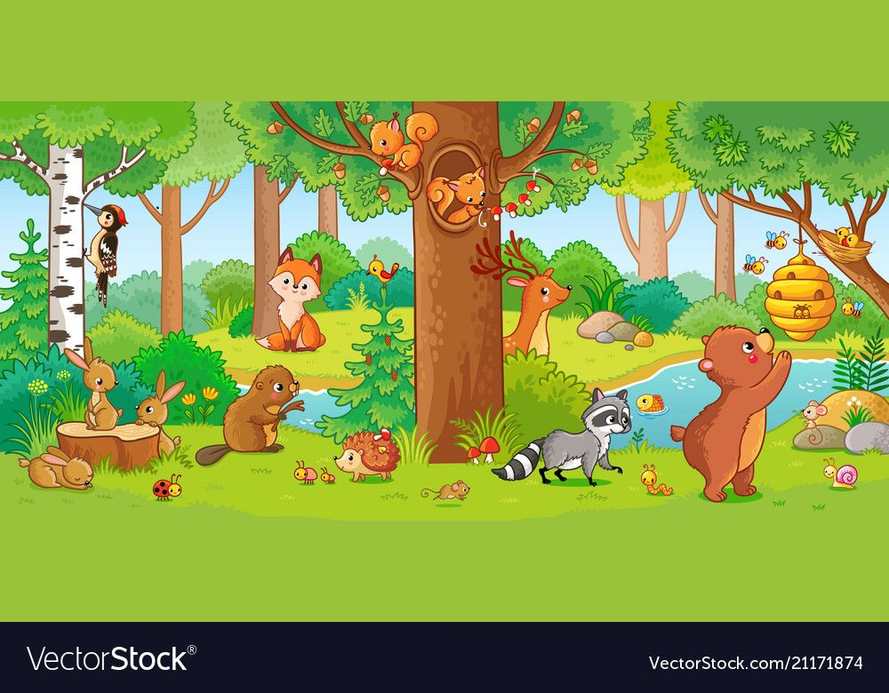 With cute forest animals Royalty Free Vector Image