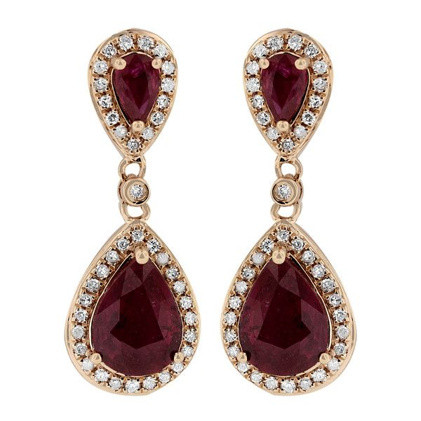 Effy Jewelry Gemma Rose Gold Ruby and Diamond Earrings, 2.98 TCW (130,235 PHP) ❤ liked on Polyvore featuring jewelry, earrings, brinco, ruby diamond earrings, diamond earrings, ruby jewellery, rose gold earrings and diamond jewellery