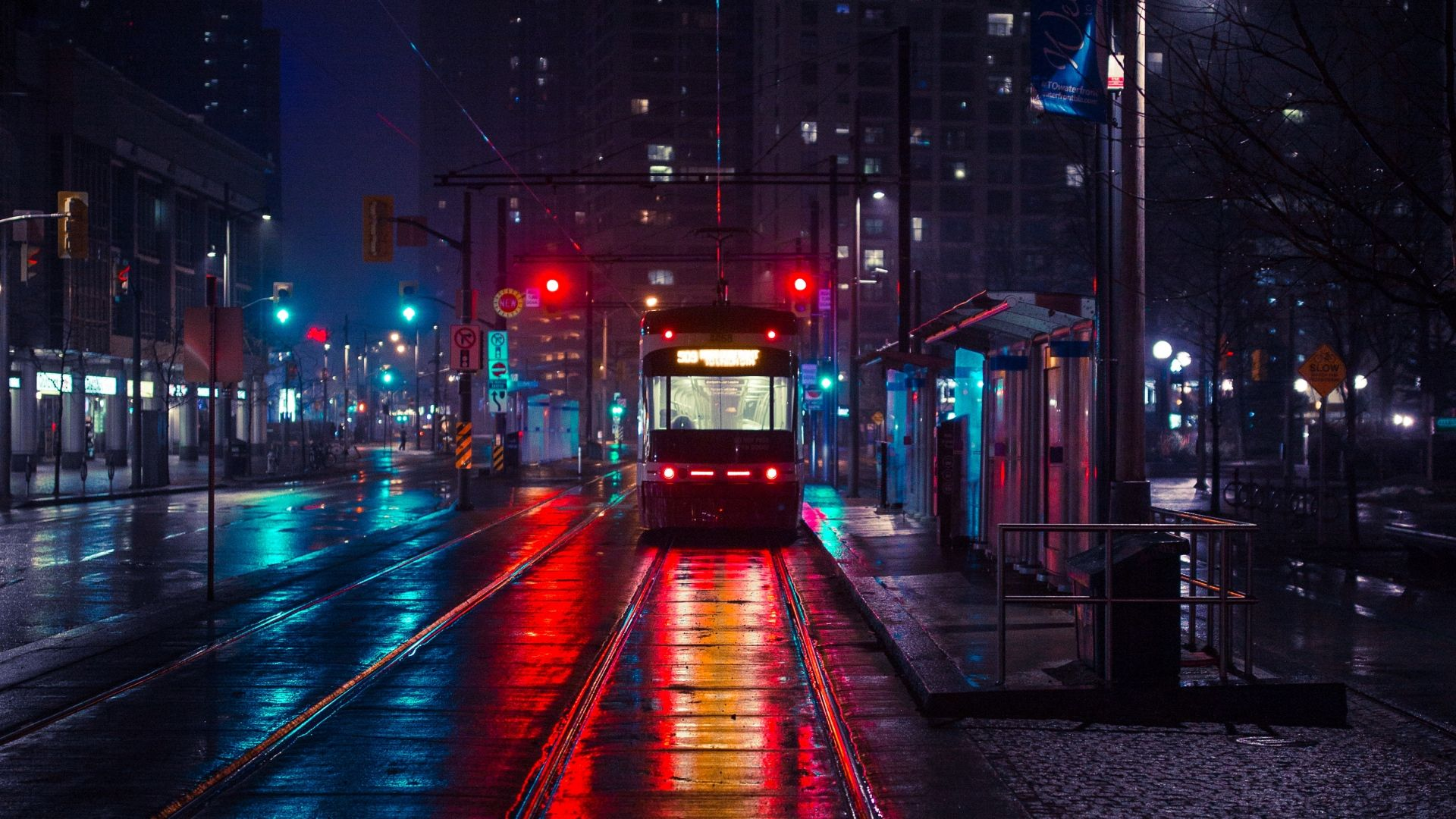 1920x1080 Wallpaper Trolley Stop City Evening Lighting City Wallpaper Aesthetic Desktop Wallpaper Laptop Wallpaper Desktop Wallpapers