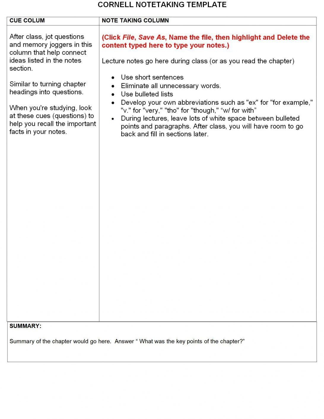 Note Taking Template Cornell Notebook For History Avid Pdf Within Note Taking Template Word Cornell Notes Template Word Cornell Notes Template Notes Template