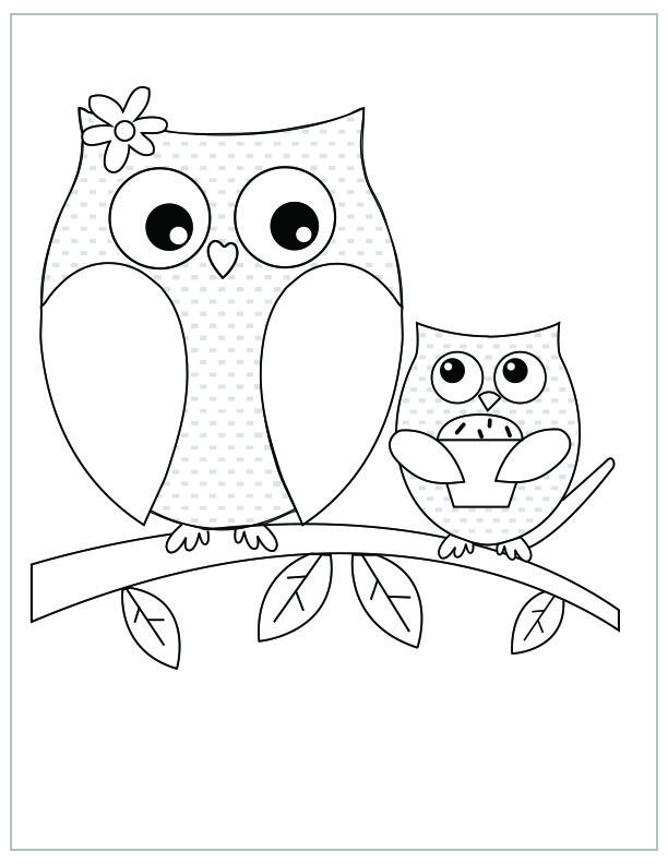 Mother's Day free printable coloring pages Owl and owlet