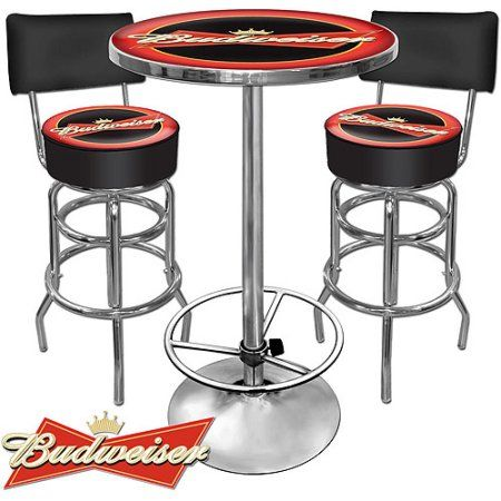 Trademark Two inch Bar Stools with Back and inch Pub Table Ultimate Budweiser Game