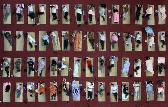 """Genitori di studenti giapponesi dormono per terra a Wuhan, in Cina. Cosa non si farebbe per amore dei figli! Lo sanno bene i genitori di alcuni studenti del primo anno di un'università di Wuhan, in Cina, che pur di condividere con i loro pupilli le gioie del primo giorno di lezione si sono adattati a dormire su giacigli un po' """"spartani"""". Niente alberghi a cinque stelle, quindi, ma una semplice stuoia stesa sul pavimento della palestra, accanto a quelle di altri 350 premurosi genitori."""
