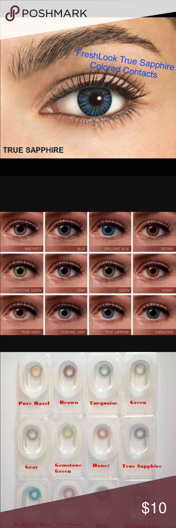 1 pair freshlook true sapphire colored contacts 1 pair reusable 2