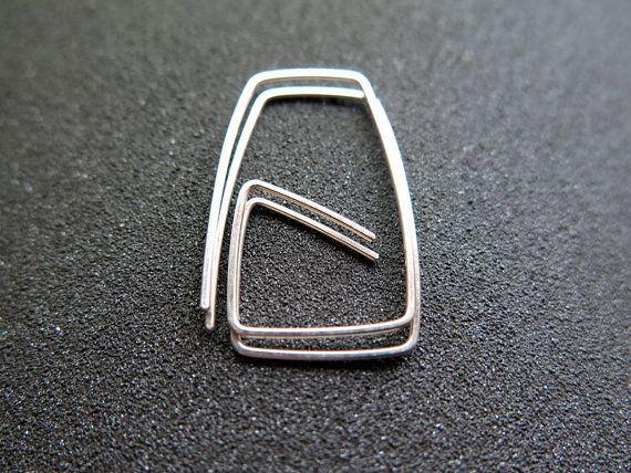 Sterling silver hoop earrings. geometric hoops. silver wire jewelry