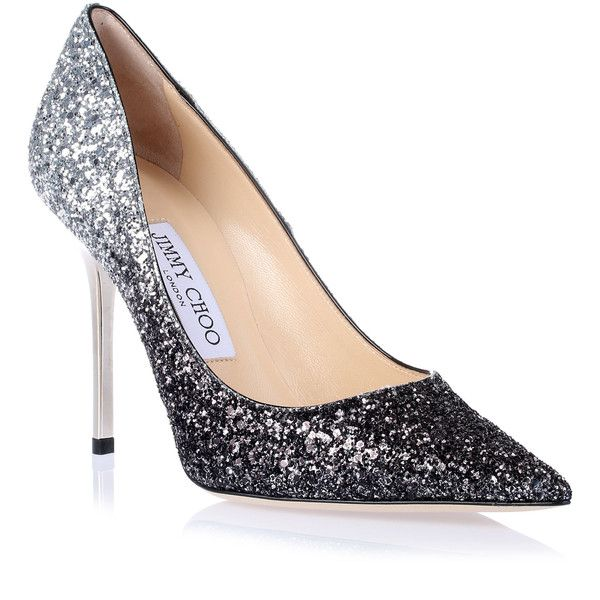 13e8d5b99499 Jimmy Choo Abel Black Silver Glitter Pump ($635) ❤ liked on Polyvore  featuring shoes, pumps, high heels, jimmy choo pumps, pointed toe high heels  stilettos ...