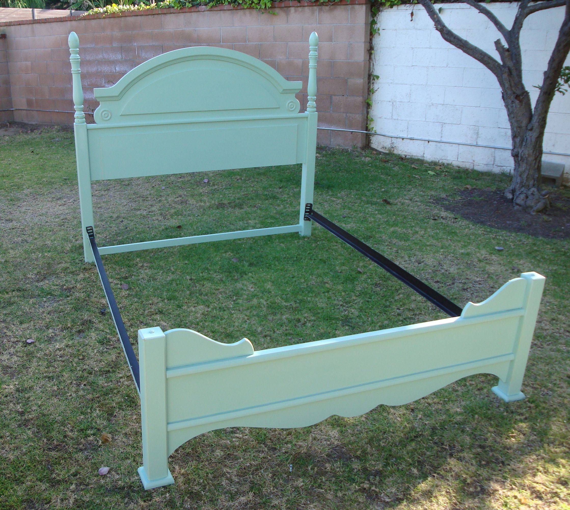 SHABBY CHIC FRENCH PROVINCIAL QUEEN BED FRAME IN MINT GREEN