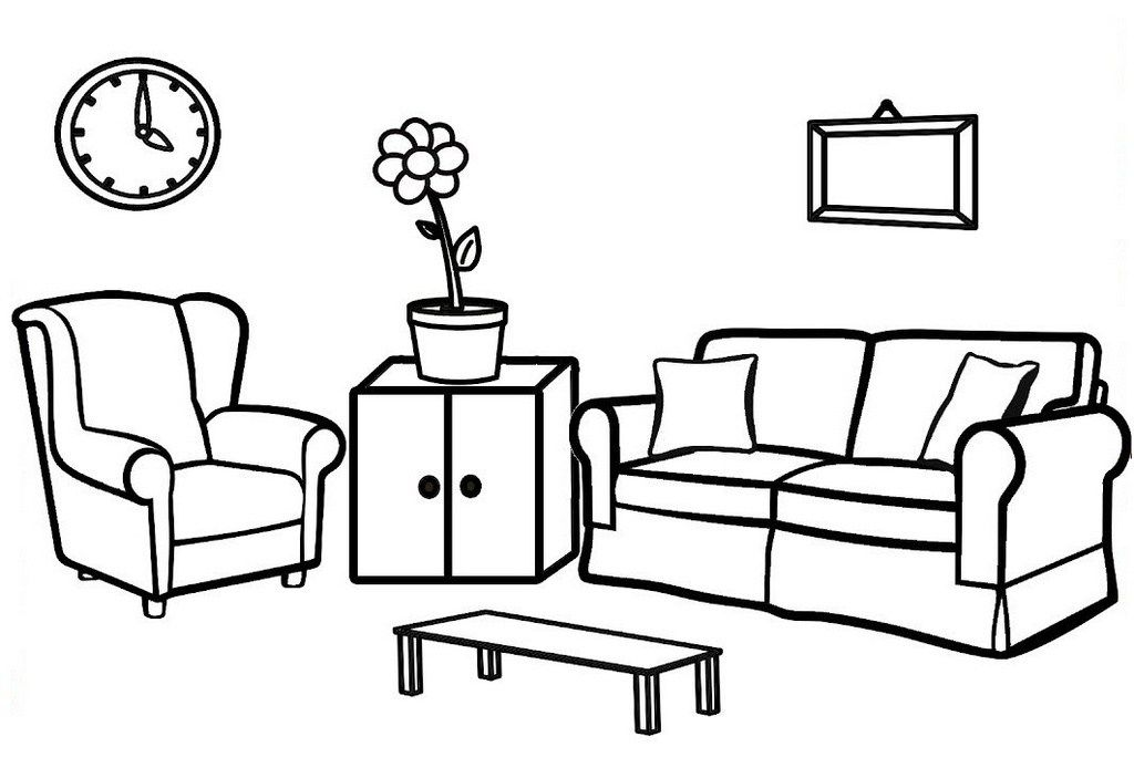 Inspired Living Room Coloring Pages Bedroom Drawing Kids