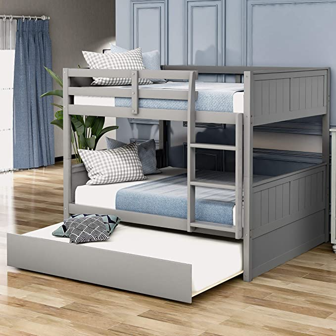 Amazon Com Bunk Bed Full Over Full With Trundle Julyfox 725lb Heavy Duty Full Size Platform Bed Pine Wood Bunk Bed With Trundle Full Bunk Beds Wood Bunk Beds Full over full trundle bed