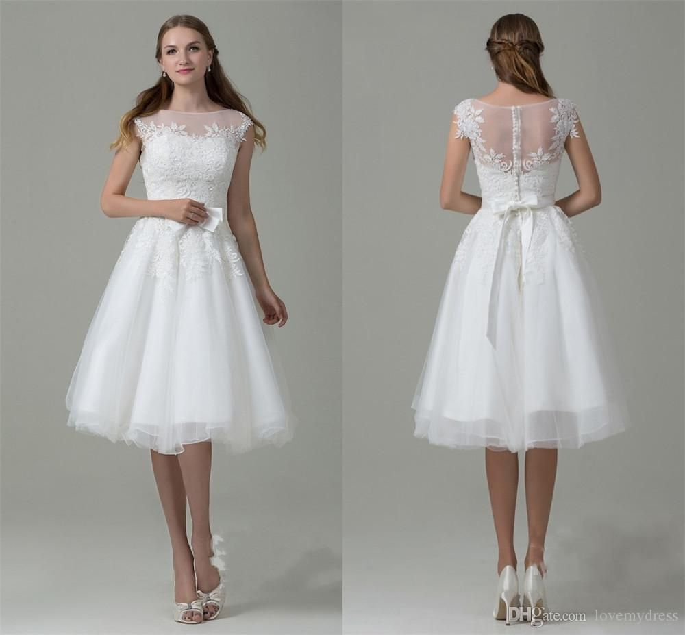 Iullsion Neck Lace Wear Pearl Back Sweet Girls Dresses Cheap Price Short Bridal Gown Wedding High Quality Formal Sexy