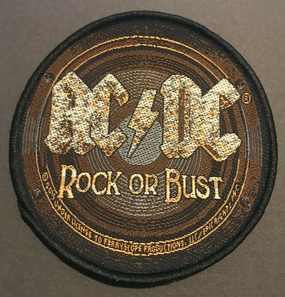 AC//DC Rock /& Roll Will Never Die Cut Out Woven Patch