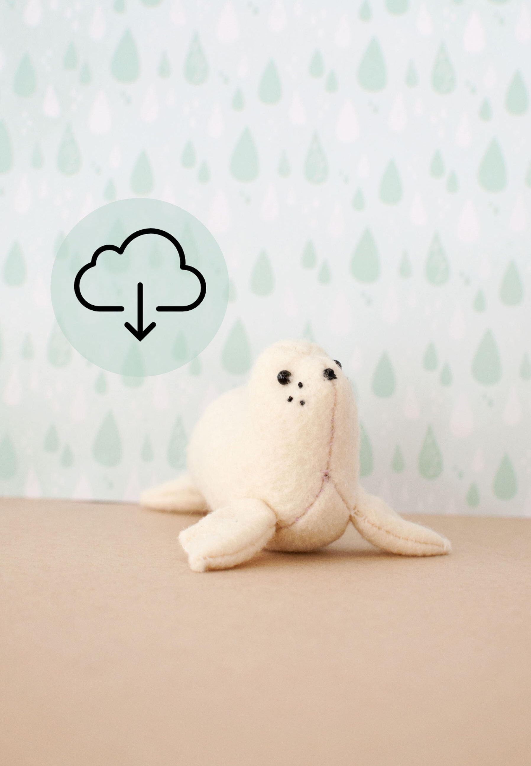 56f2ccbcf3be Sam the Baby Seal Sewing Pattern, Instant Download PDF tutorial, DIY stuffed  animal,