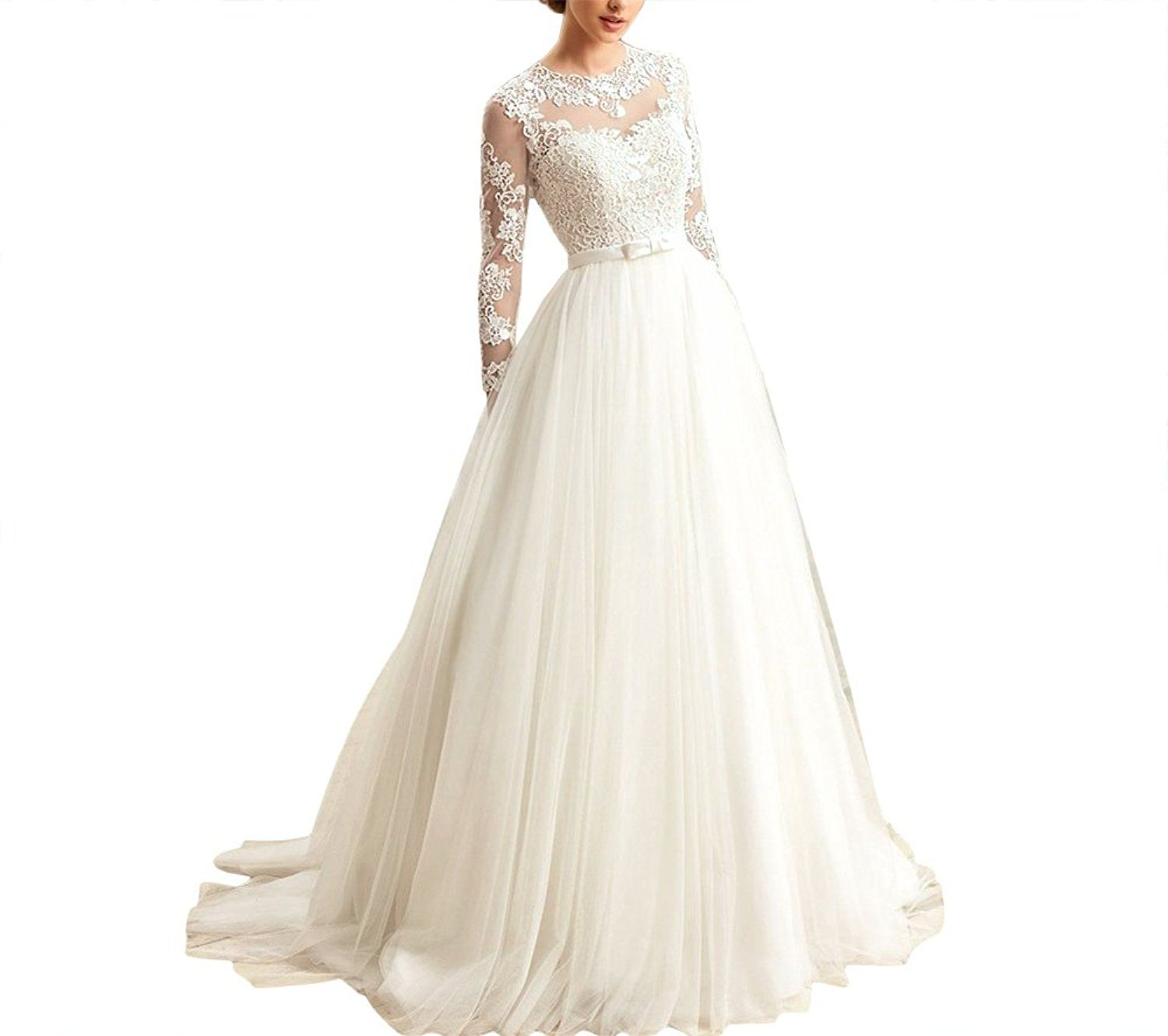 Kevins bridal womenus aline wedding dresses long lace bridal