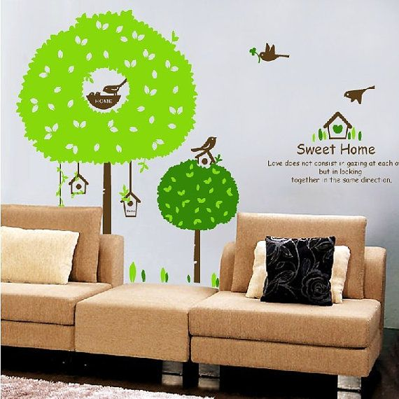 Flower tree wall decal,green tree wall decal,birds on tree wall art,nursery wall decal,children wall art,tree wall sticker larger size