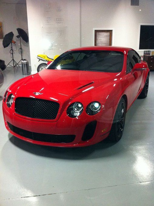 Bright Red Bentley Continental Gt Sound Like A Drum Set In There