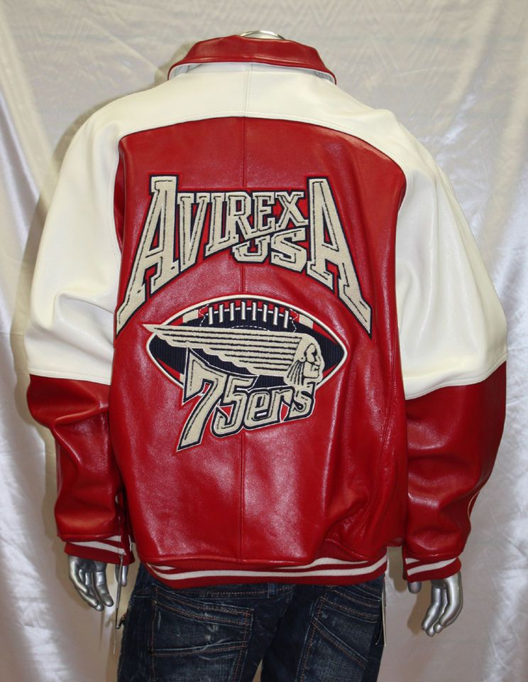 Avirex RED/WHITE 100 Genuine Leather Jacket Leather