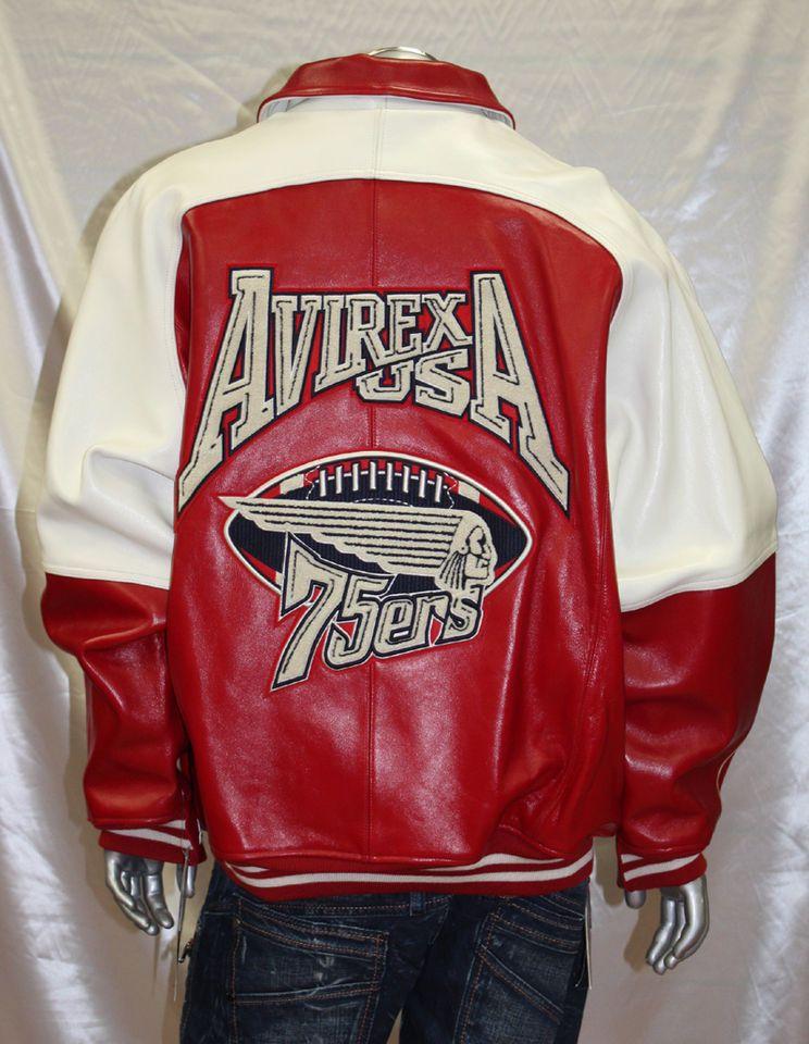 cd8bd5e7fe6 Avirex RED WHITE 100% Genuine Leather Jacket