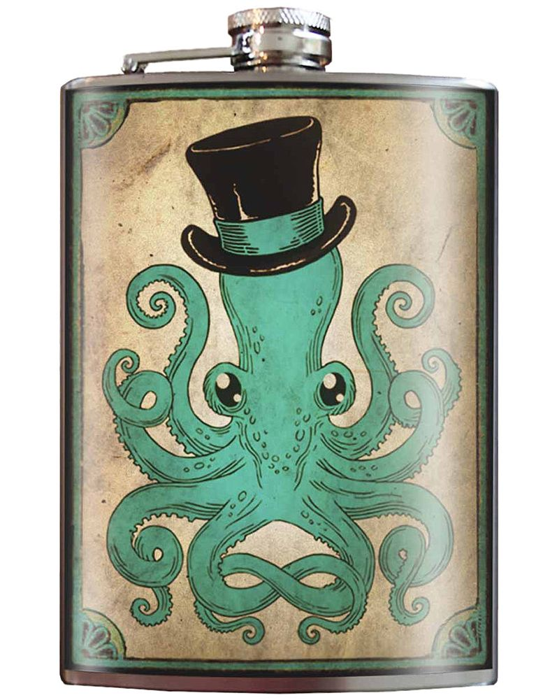 Clever Tattoo Lady Stainless Steel Hip Flask Steampunk Rockabilly Pin Up Retro Gift Barware