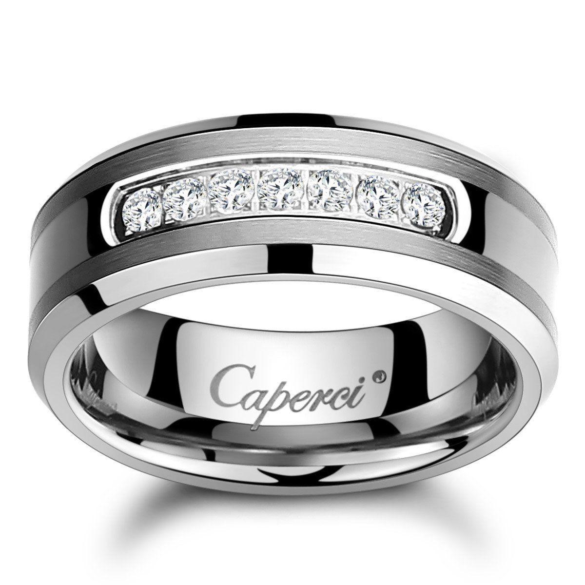 Caperci Men's 8mm CZ Diamond Tungsten Carbide