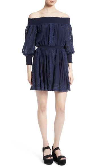 ALICE AND OLIVIA Pammy Eyelet Embroidered Off The Shoulder Blouson Dress. #aliceandolivia #cloth #