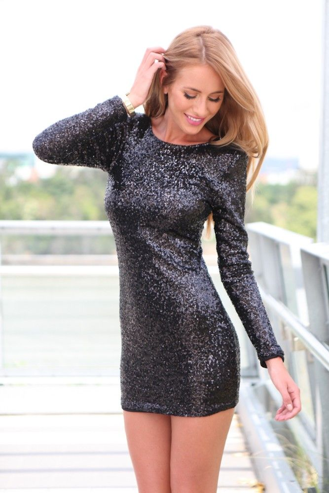 Black sequin long sleeve dresses