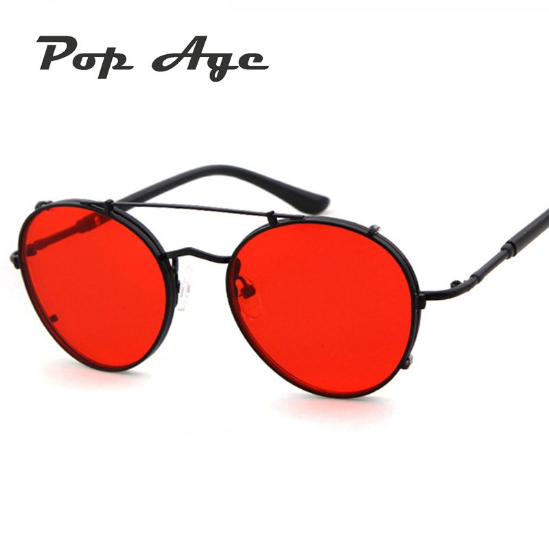 b24e850e98 Pop Age New Vintage Steampunk Sunglasses Women Men Brand Designer Metal  Mirror Round Dark Red Sun glasses lentes de sol