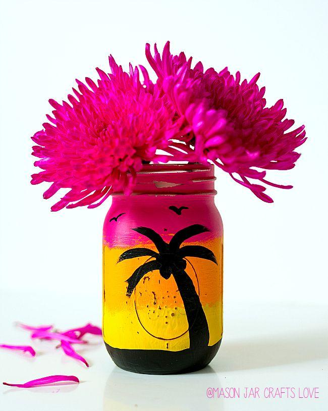 Tropical Sunset Mason Jar - Mason Jar Crafts Love