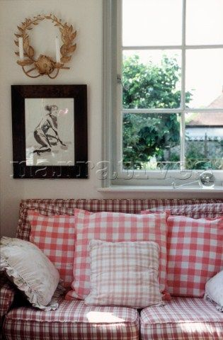 Detail Of Gingham Sofa And Window In Living