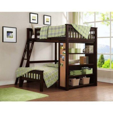 Buy Whalen Emily Full Over Twin Wood Bunk Bed With Bookshelf Espresso At Walmart