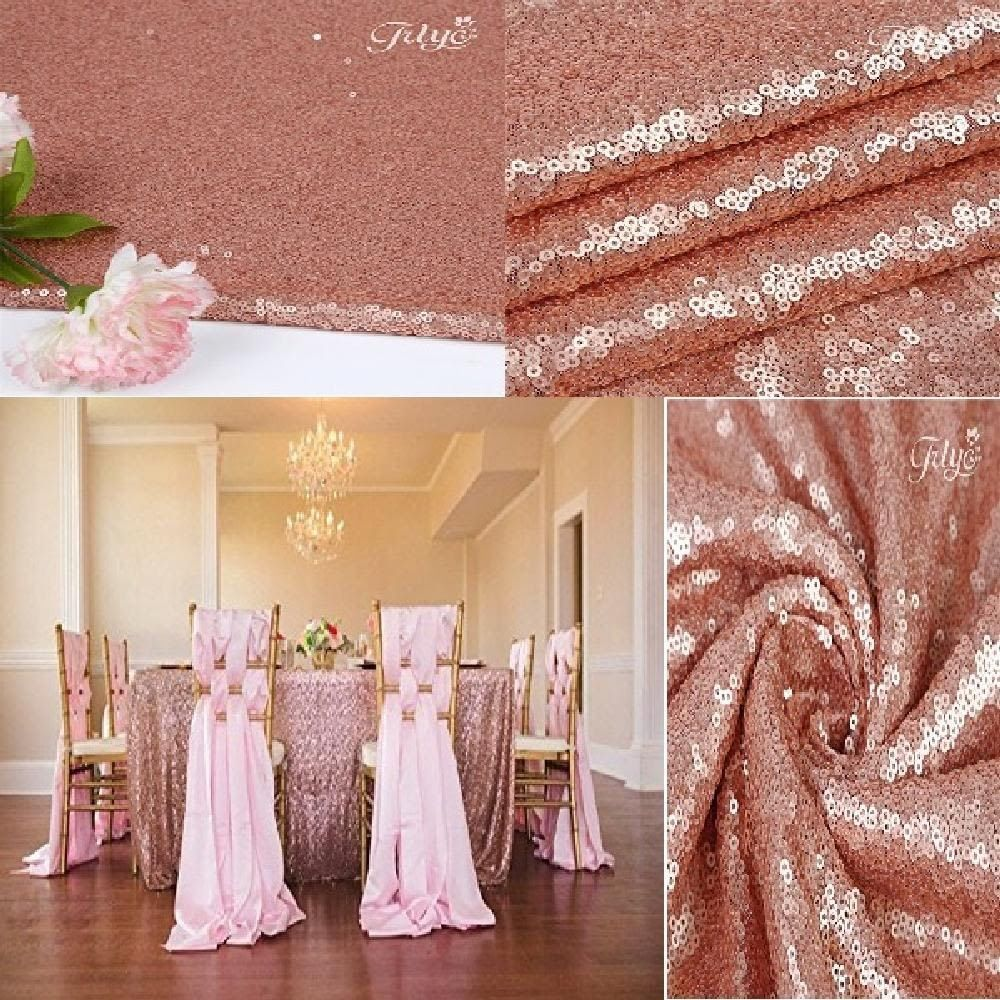 Rectangular Blush Sequin Tablecloth For Wedding Party