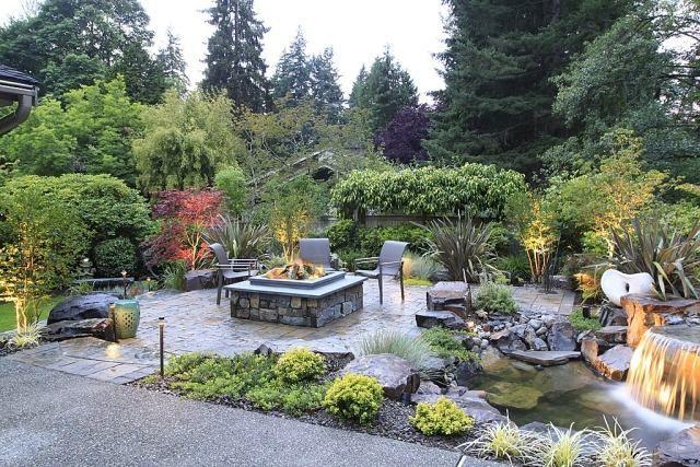 Gartengestaltung Ideen-Sitzplatz mit Feuerstelle-Sichtschutz mit