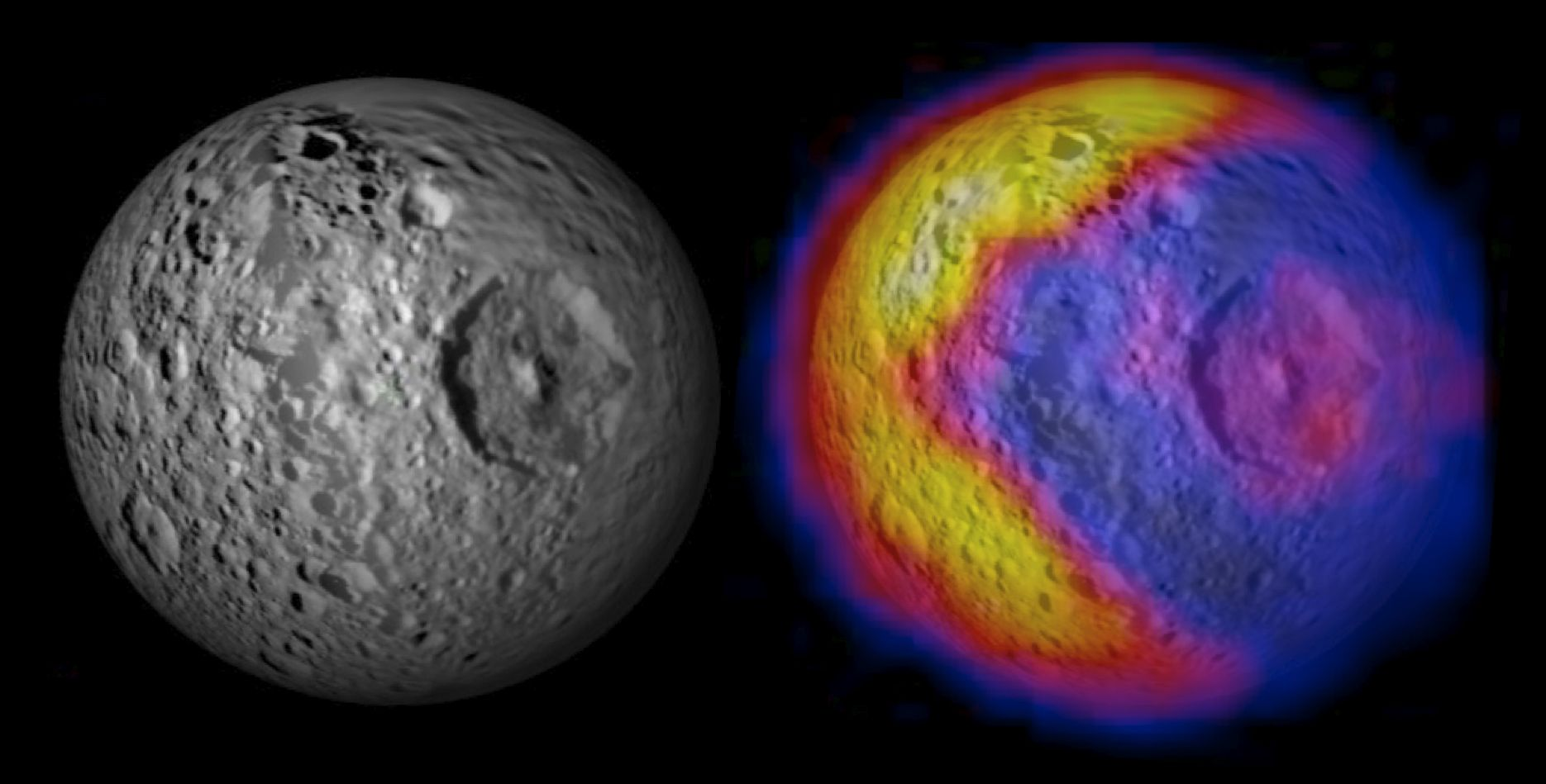 Saturn's moon Mimas looks like the Star Wars Death Star -- and has a Pac Man heat signature.