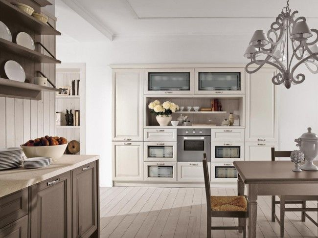 shabby chic-küche-küchenblock design-kronleuchter italienisch - küche shabby chic