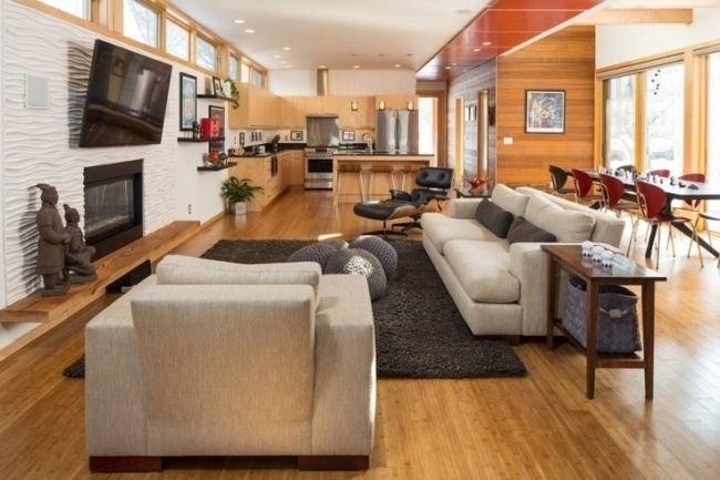 wohnzimmer mit küche offene wohnbereiche holzboden holzküche ...