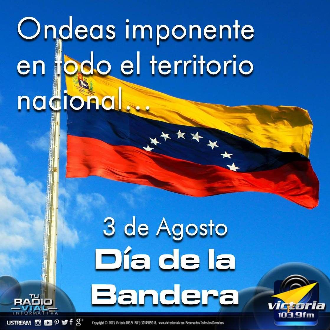 """Hoy, como cada 3 de agosto se celebra en Venezuela el Día de la Bandera - #Actualidad vía @victoria1039fm Fue el 3 de agosto de 1806 cuando Miranda en compañía de los mártires de su """"Expedición Libertadora"""" tocó tierras venezolanas, en la Vela de Coro, y desplegó en tierras patria el nuevo pabellón tricolor. Hoy se cumplen 209 años de aquella primera vez que reseña la historia de Venezuela. Leer más en nuestra web » http://bit.ly/1IA71KS"""