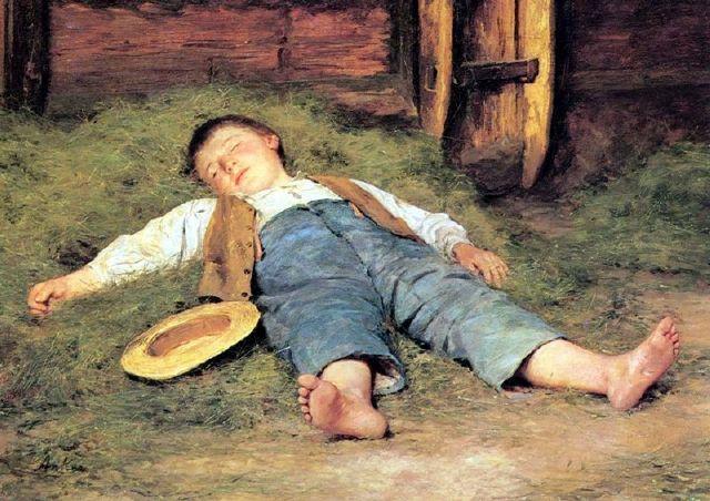 """Sleeping Boy in the Hay"", also known as  ""Schlafender Knabe im Heu"" (1897), by Swiss artist - Albert Anker (1831-1910), Oil on canvas, 55 x 71 cm. (21.65 x 27.95 in.), Kunstmuseum -  Basel, Switzerland."