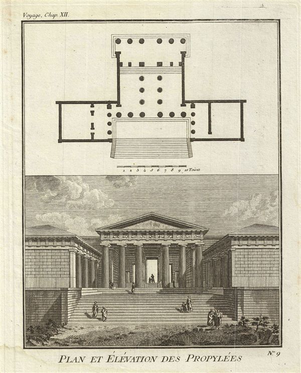 1791 Bocage Map Of The Propylaea, Ancient Greece
