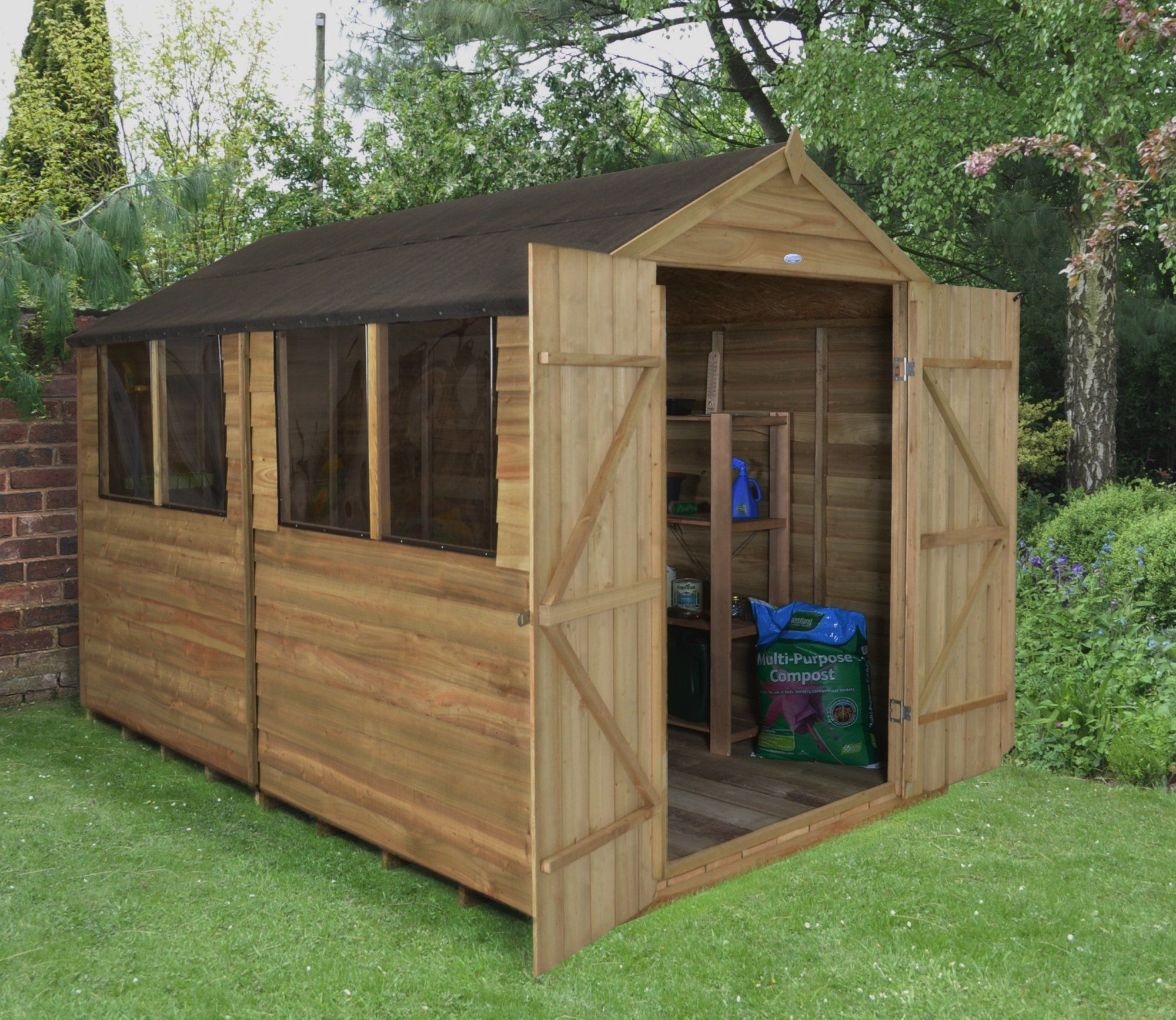 Garden Sheds 8x10 8 x 10 overlap pressure treated apex shed with double doors