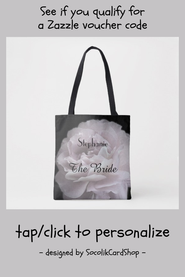 The Bride Personalized Pale Pink Rose Tote Bag