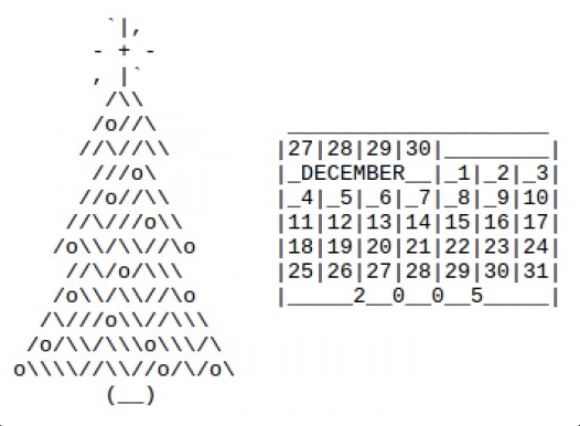 Ascii Art Calendar 2005 Ascii Art Text Message Art Ascii