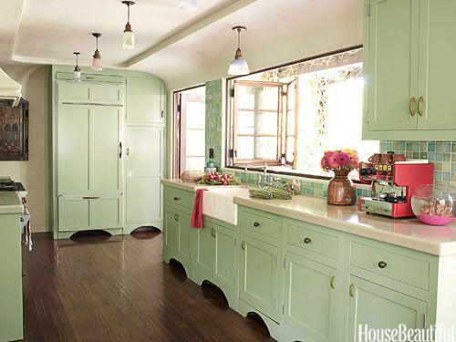 Million Dollar Decorators Design Secrets Green Kitchen Cabinets Mint Kitchen Mint Green Kitchen