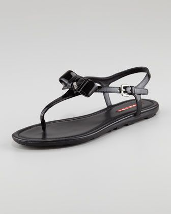 ef9d804f9 Patent Leather Bow Thong Sandal