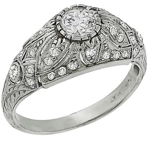 fdc92cf340da7 Art Deco 0.50ct Old Mine Cut Diamond Platinum Engagement Ring ...