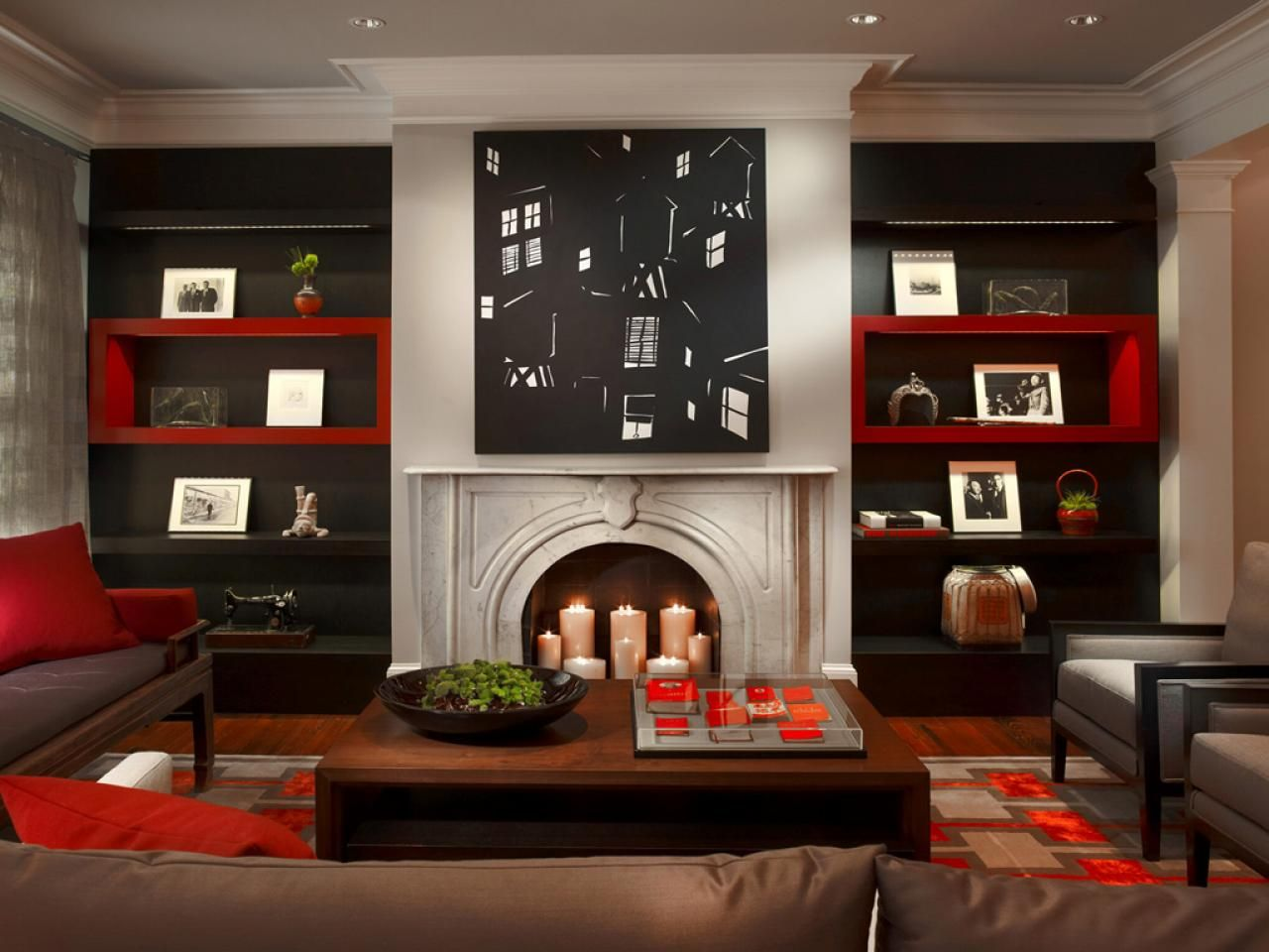 Beforeandafter Fireplace Makeovers  Custom Cabinetry Red Brilliant Red And Black Living Room Decorating Ideas Design Decoration