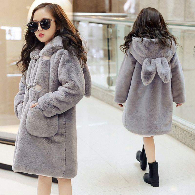 Kids Girls Fashion Cute Hooded Thicken Rabbit Fur Coats Children Furry Coats