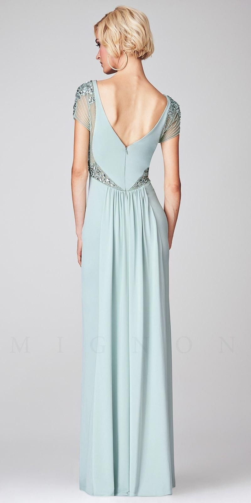 Illusion Embellished Cap Sleeve Long Evening Dresses by Mignon ...