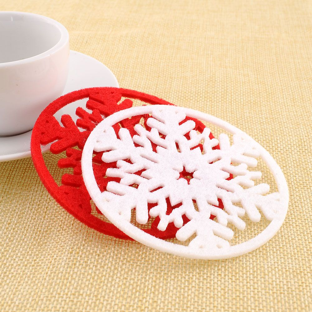 2Pcs/lot Cup Pad Snowflake Insulation Coasters Mat Christmas Table Coffee  Drinks Heat Pad Christmas