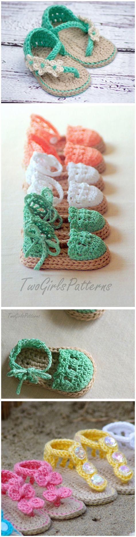 Crochet Baby Flip Flop Sandals with Patterns | Sandalen häkeln ...