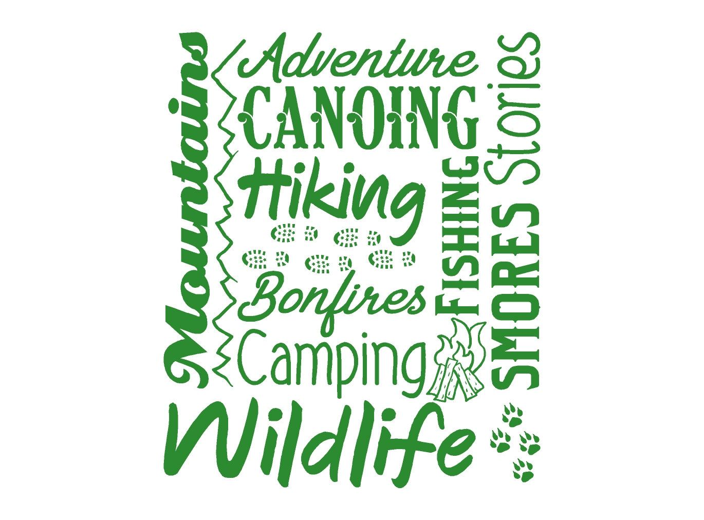 Camping Outdoors Collage Wall Decal By